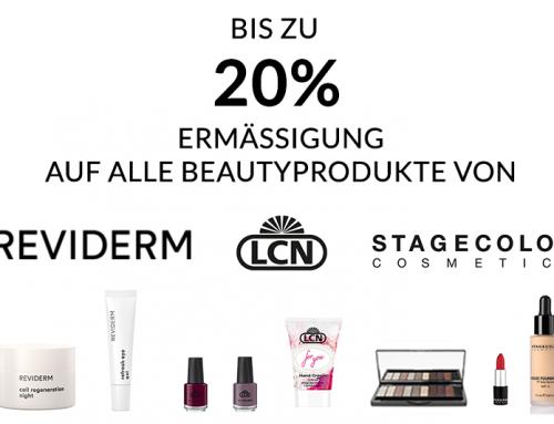Bis zu 20% Ermässigung auf Ihre Beautyprodukte